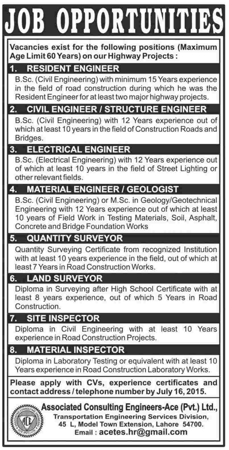 engineering jobs at associated consulting engineers ace lahore ace dawn