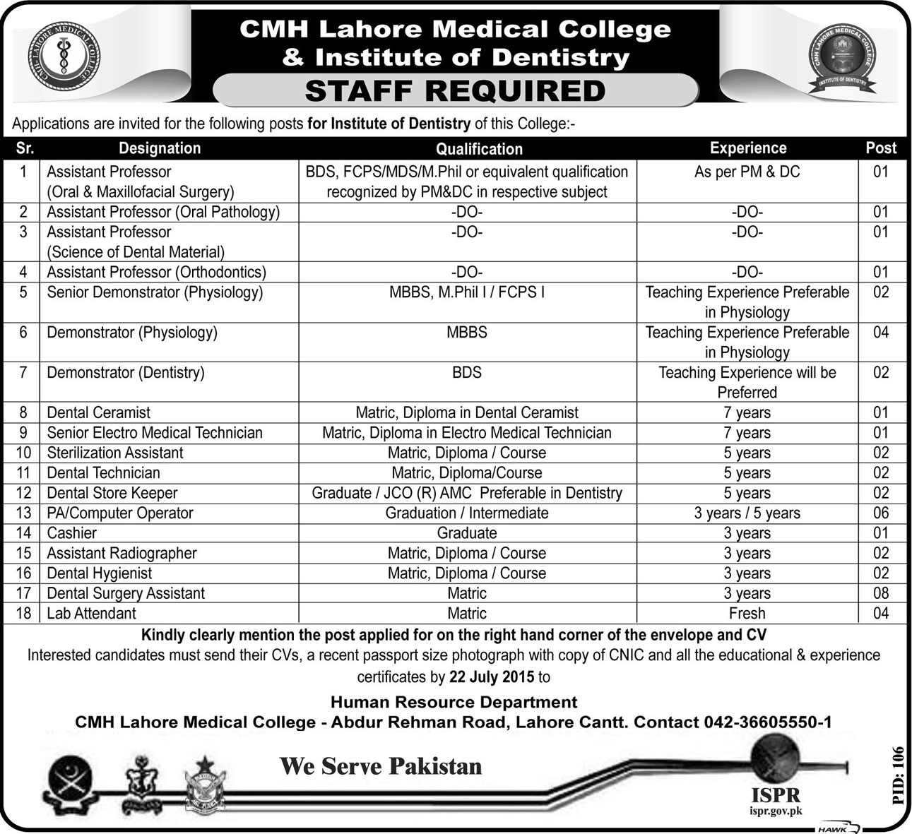 Staff Jobs At CMH Lahore Medical College & Institute Of Dentistry