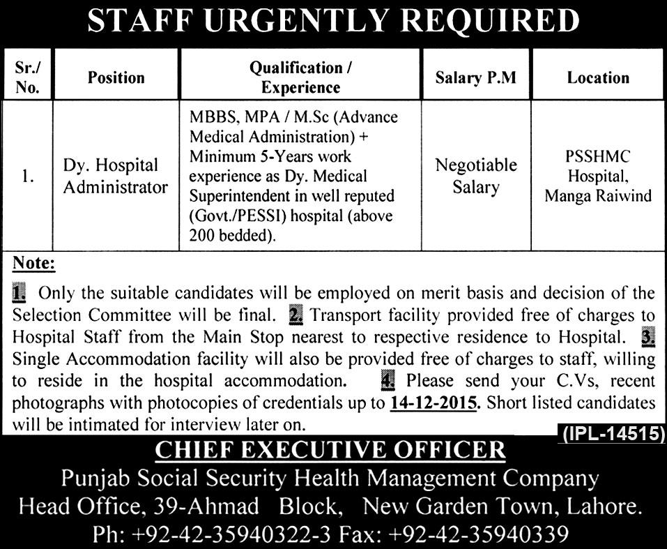 Health Services Administrator Job Description