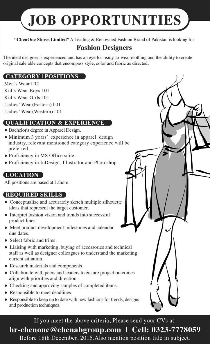 Fashion Designers Jobs At Chenone Stores Limited Lahore On 13 December 2015 Paperpk Jobs