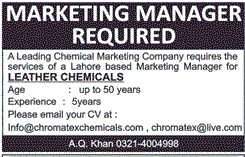Marketing Manager Jobs At Chromatex Chemicals Company