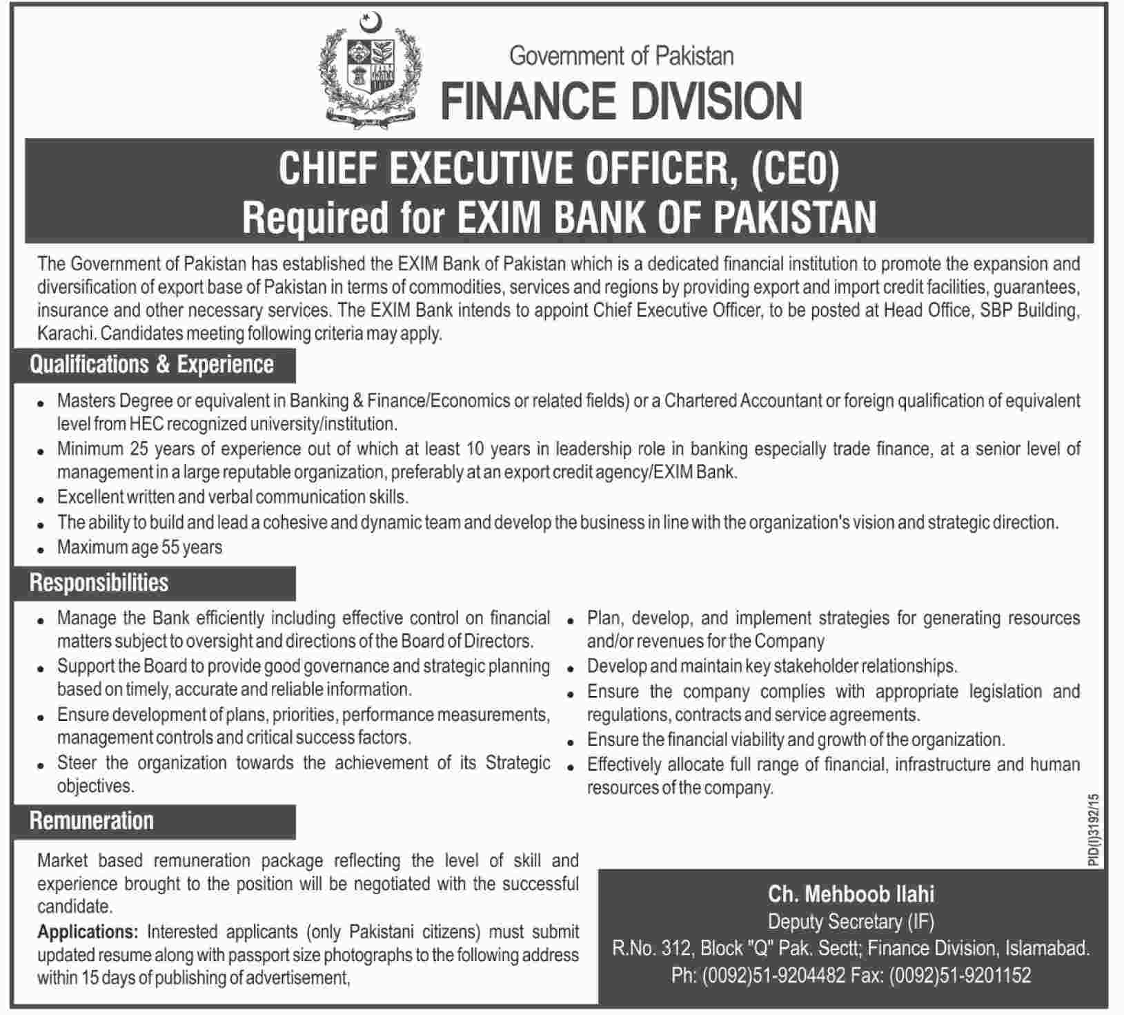 chief executive officer ceo jobs at exim bank of finance finance div ceo dawn
