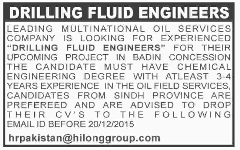 Solids Control Engineer & Drilling Fluid Engineers required at a