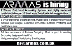 Textile Designer And Fashion Designer Jobs At Armas Women S Clothing Stores In Lahore On 3 January 2016 Paperpk Jobs
