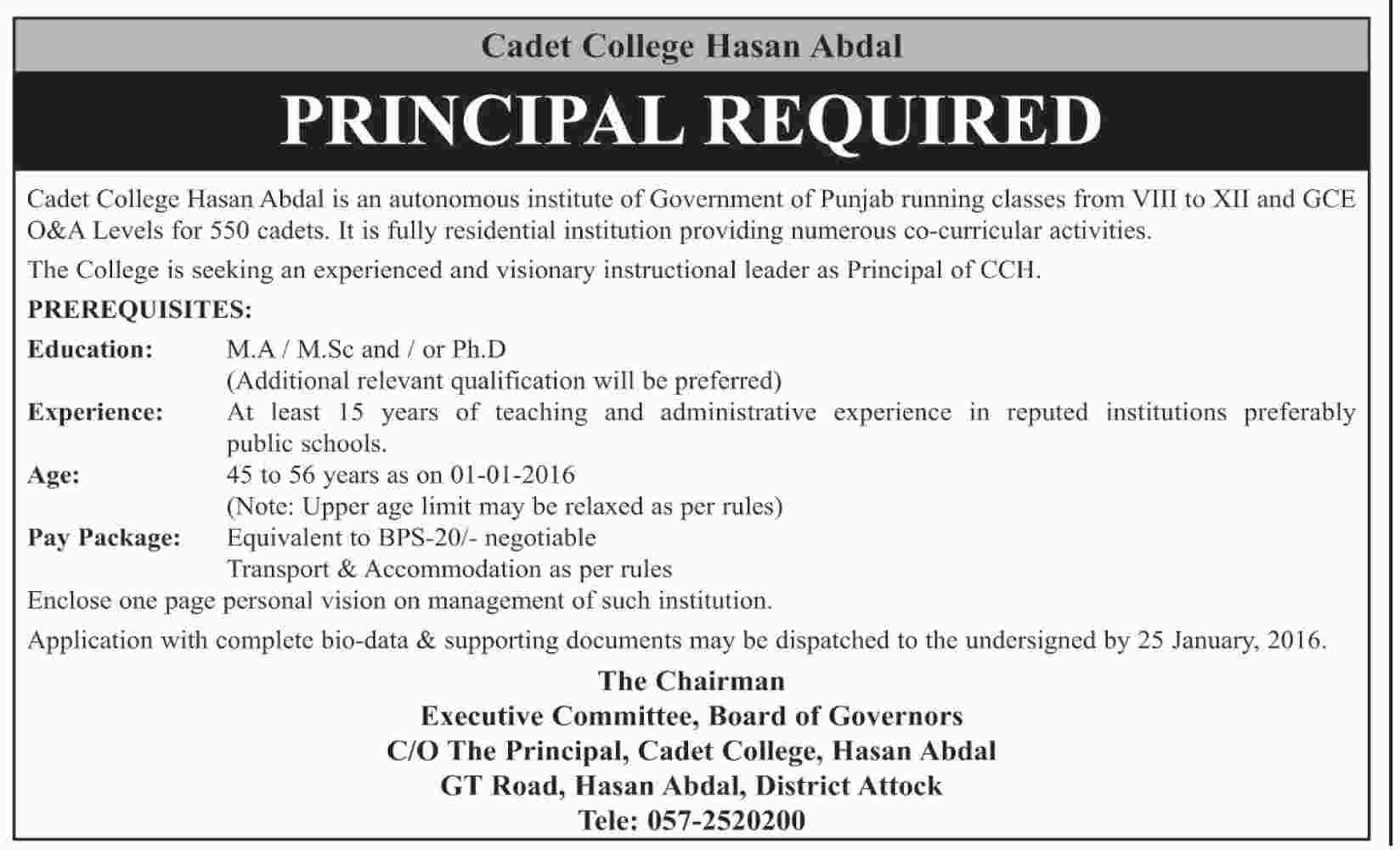 Principal Jobs Opportunities At Cadet College Hasan Abdal On 12