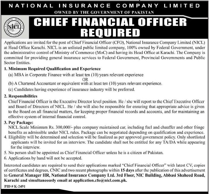 Chief Financial Officer Jobs At National Insurance Company Limited