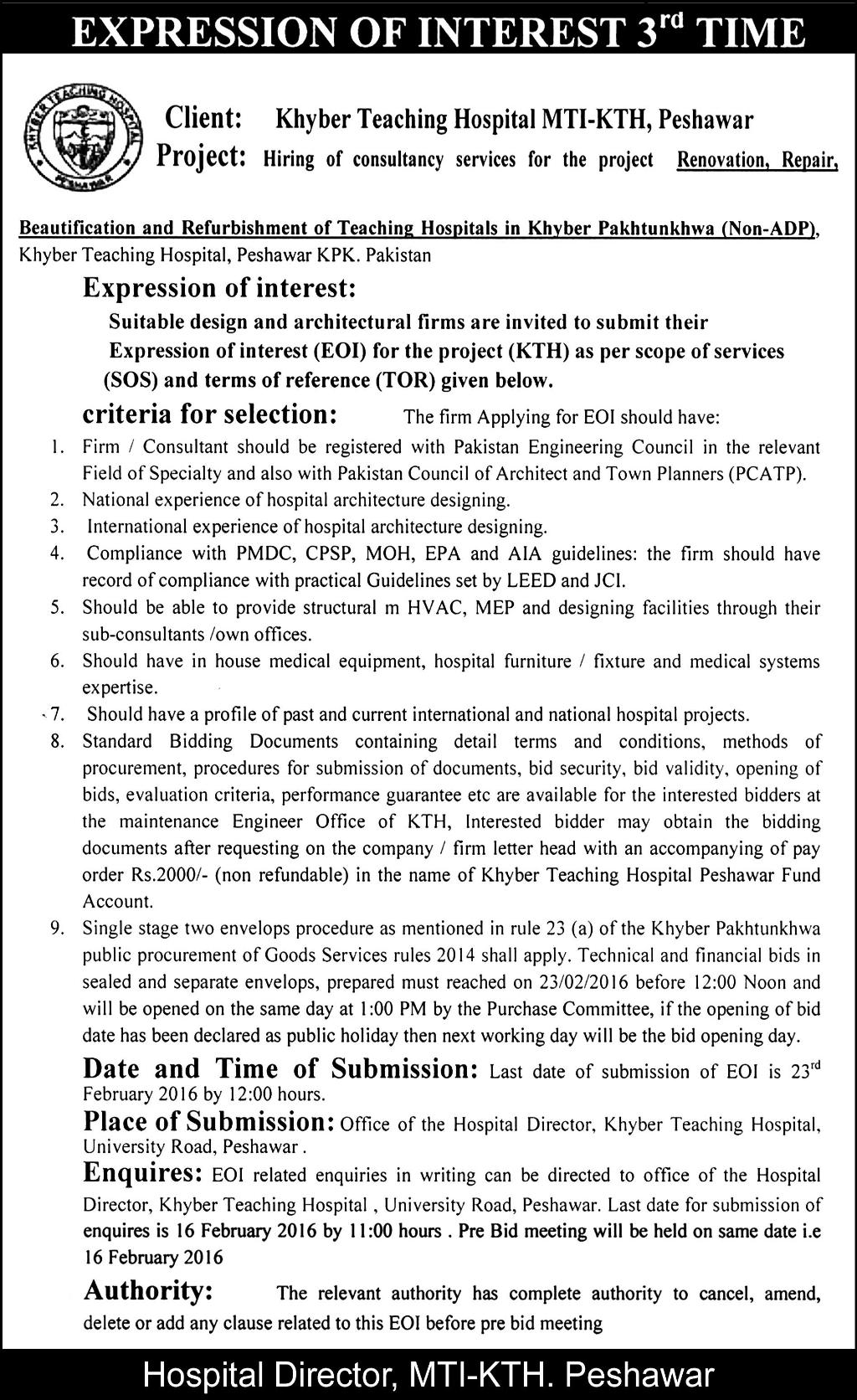 consultant jobs at khyber teaching hospital mti kth peshawar on 9 get jobs in email