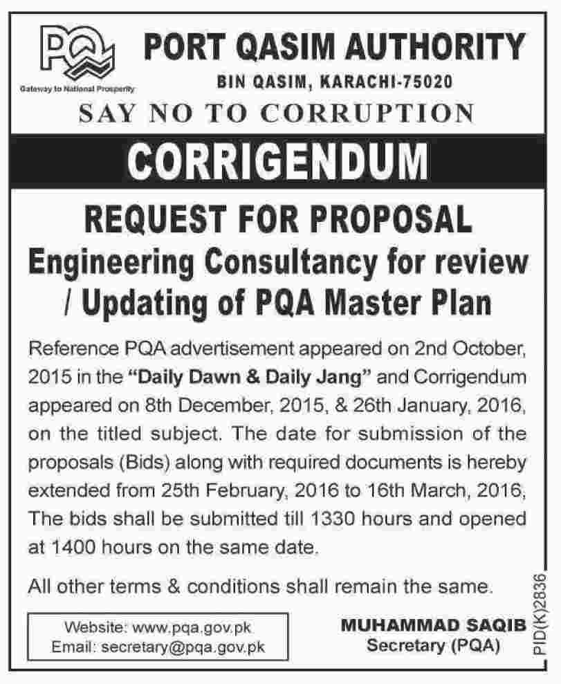 corrigendum for engineering consultant jobs at port qasim get jobs in email