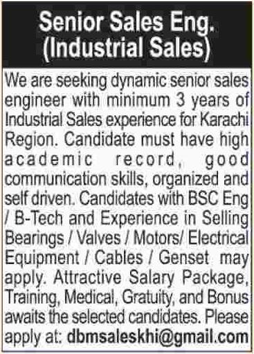 Senior Sales Engineer (Industrial Sales) Jobs Opportunities At ...