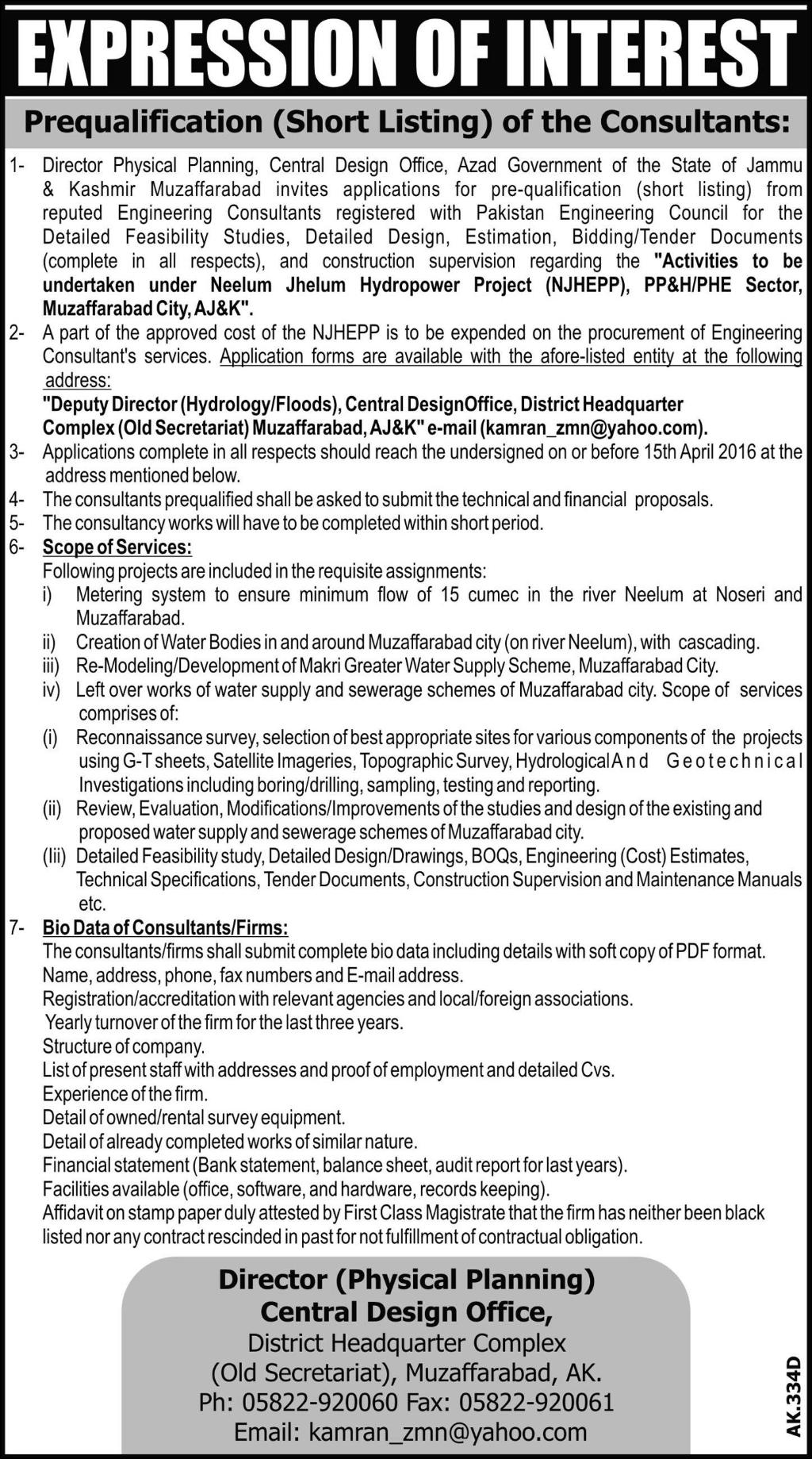 Consultants Jobs At Physical Planning Central Design Office Azad Government Of The State Of