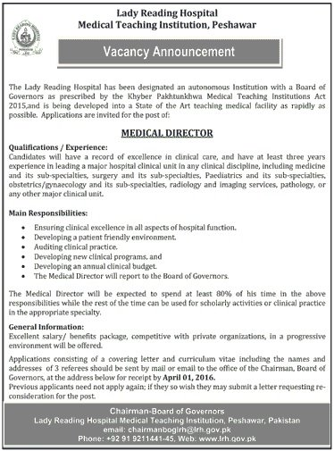 Medical Director Jobs At Lady Reading Hospital Medical Teaching