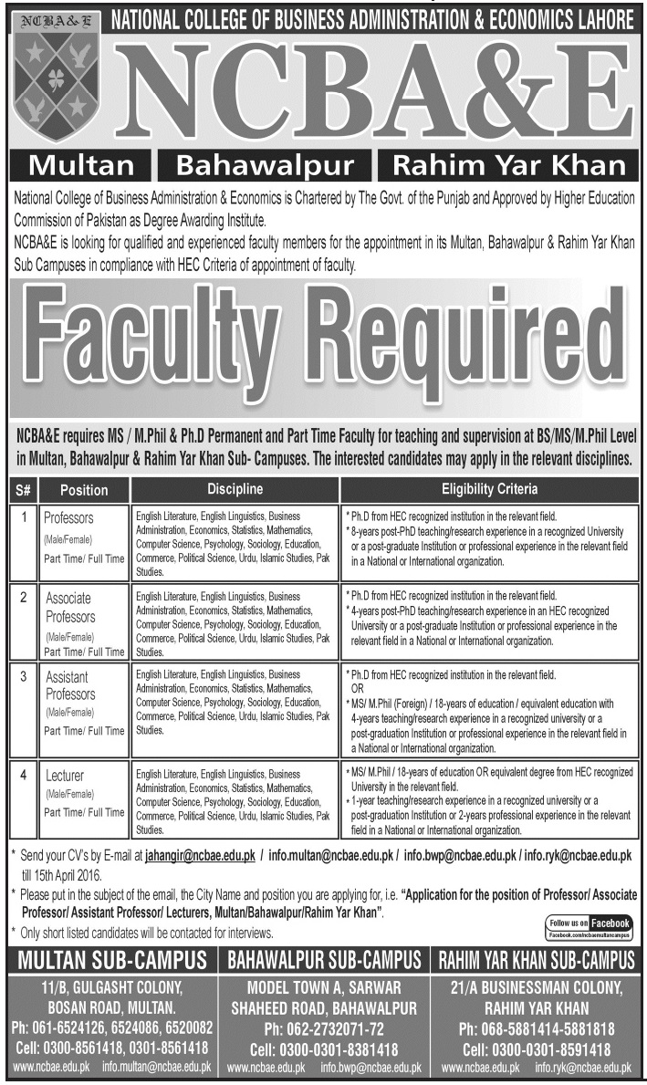 faculty jobs at national college of business administration get jobs in email