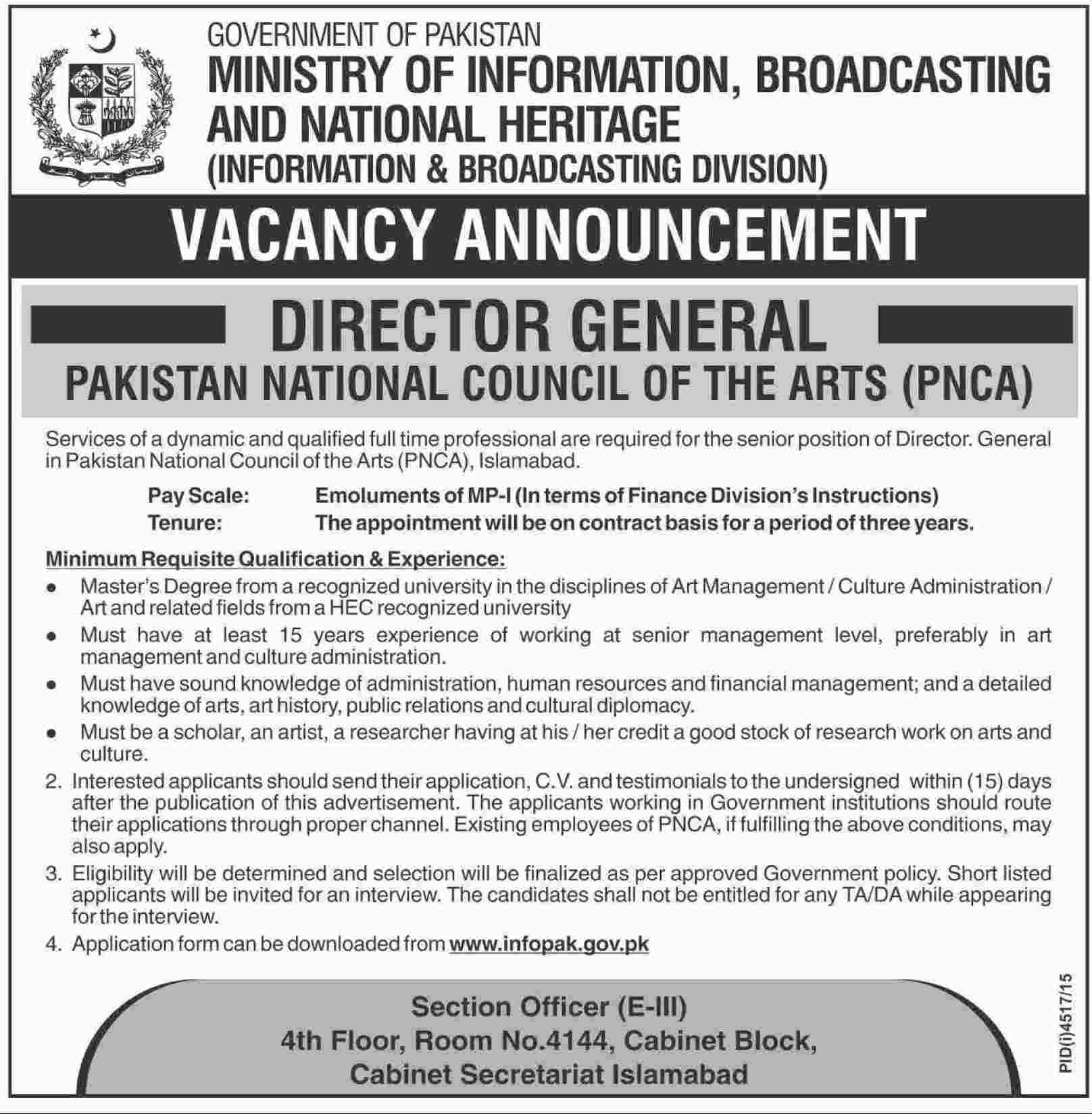 director general vacant jobs at national council of the pnca dawn