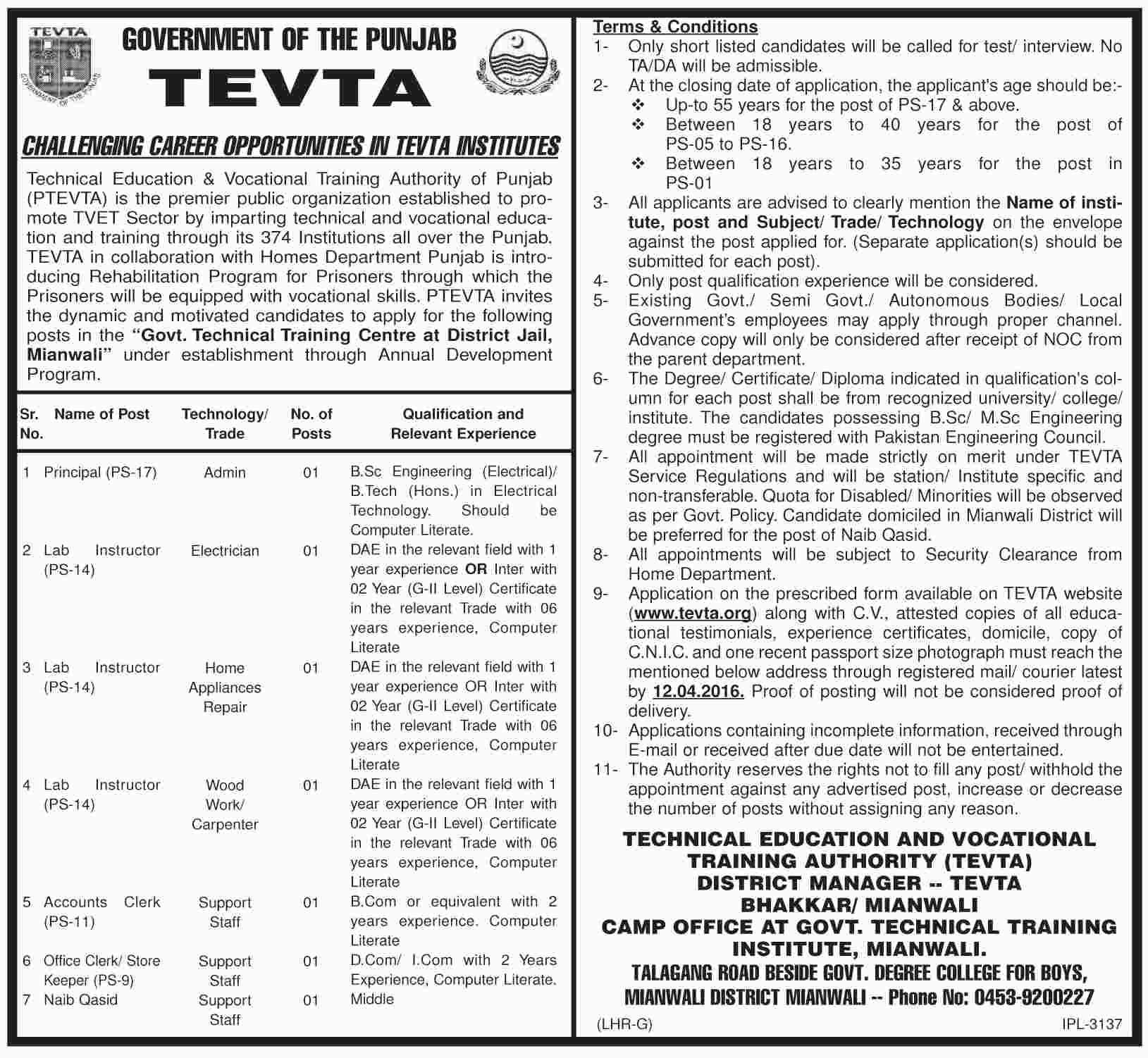 excellent jobs at technical education and vocational training tevta dawn