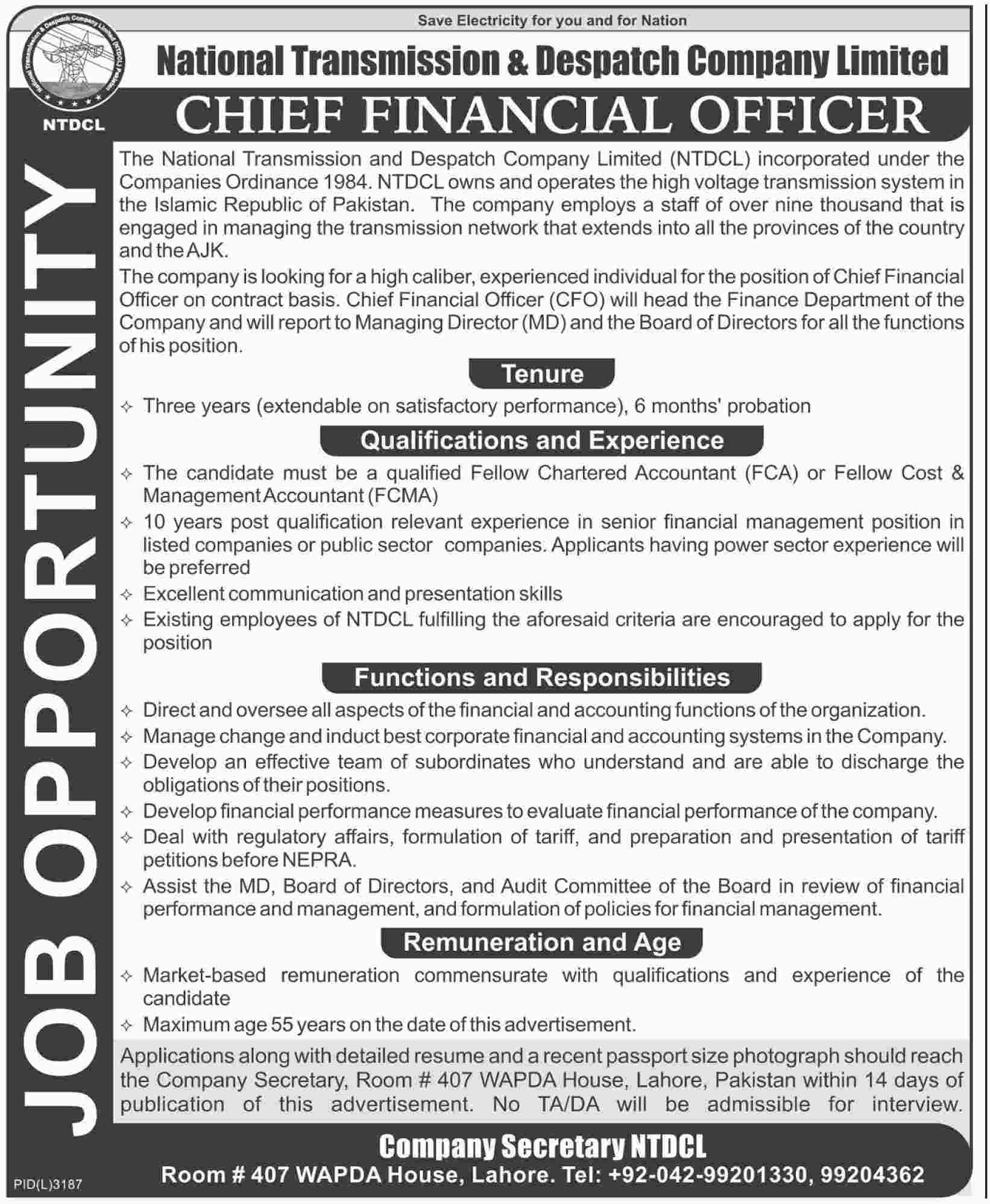 Chief financial officer jobs at national transmission despatch company limited ntdcl - Chief financial officer cfo ...