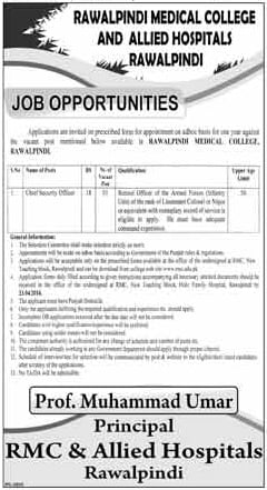 Jobs Opportunities At Rawalpindi Medical College (RMC) & Allied