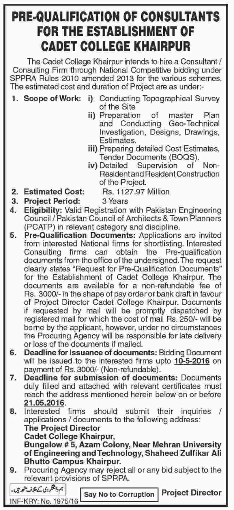 consultants jobs available for the establishment of cadet college get job alerts or jobs app