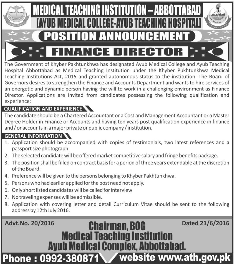 Ayub Medical College  Teaching Hospital Jobs June  Available