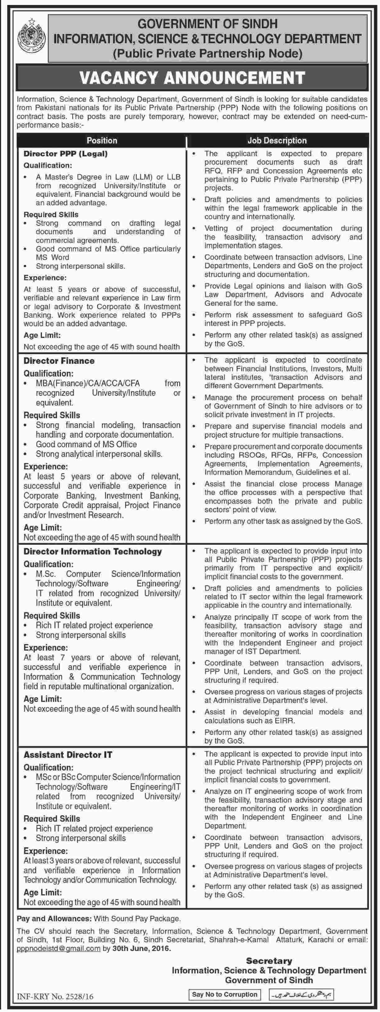 sindh govt information science technology department jobs sindh govt dawn 11 06 2016 006 007