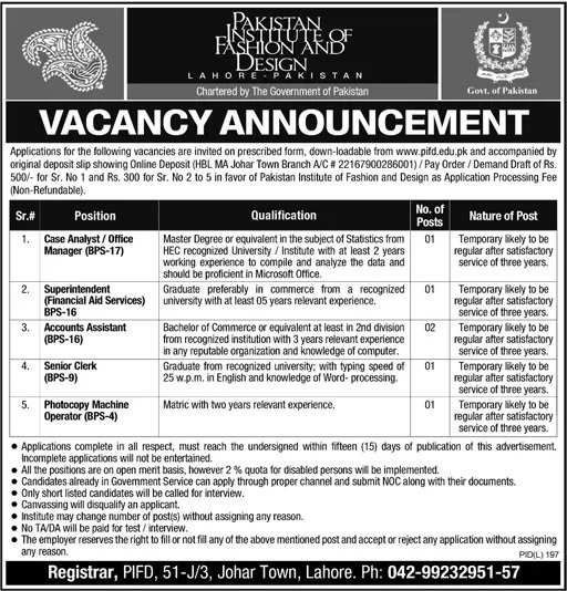 Pakistan Institute Of Fashion And Design Jobs July 2016 Available For 50 Vacancies On 24 July 2016 Paperpk Jobs