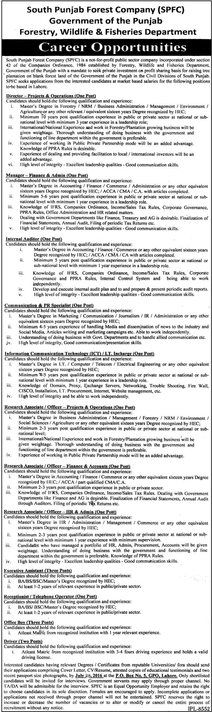 Jobs In Govt Of Punjab Published In Nawaiwaqt Newspaper On 19 July