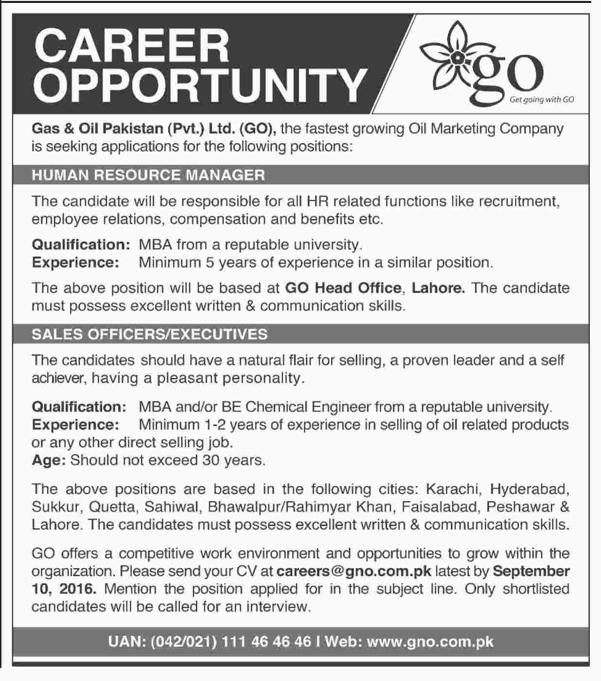 Gas & Oil Pakistan Pvt Ltd Jobs August 2016 Available for HR Manager ...
