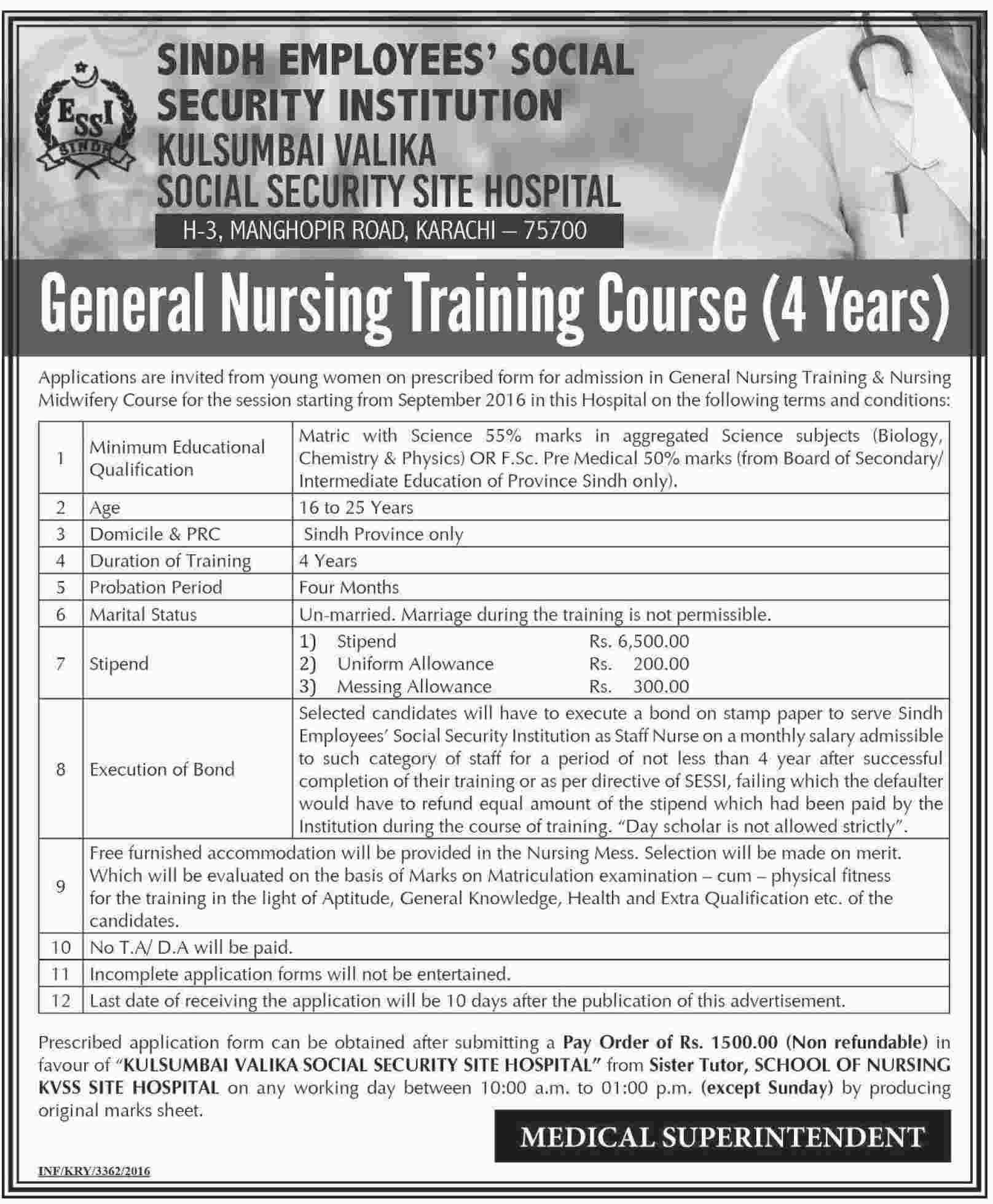 Stem School Karachi: General Nursing Training Program 2016/17 Available At