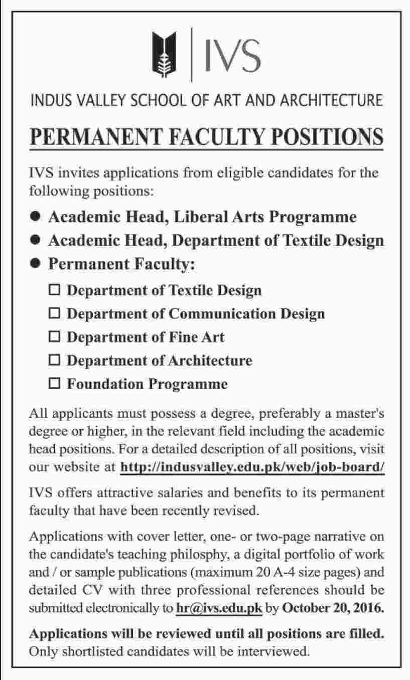 indus valley school of art architecture ivs jobs 2016 get jobs in email