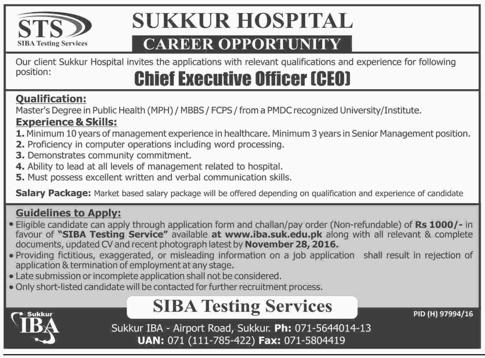 sukkur hospital jobs 2016 available for the post of chief get jobs in email