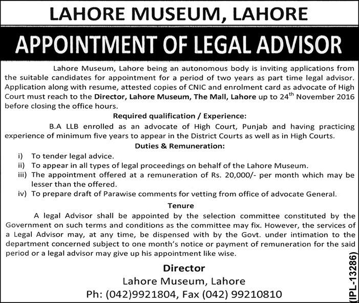 Lahore Museum Jobs 2016 Available For The Post Of Legal Advisor On 5