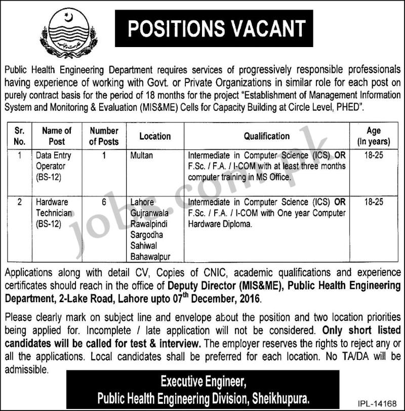 Public Health Engineering Dept Punjab Govt Jobs 2016 Available For