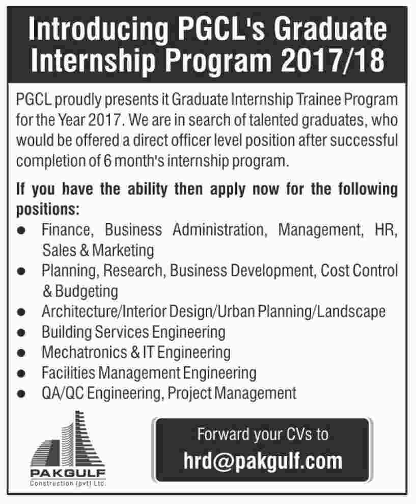 pgcl graduate internship program 2017 for fresh graduates in all departments