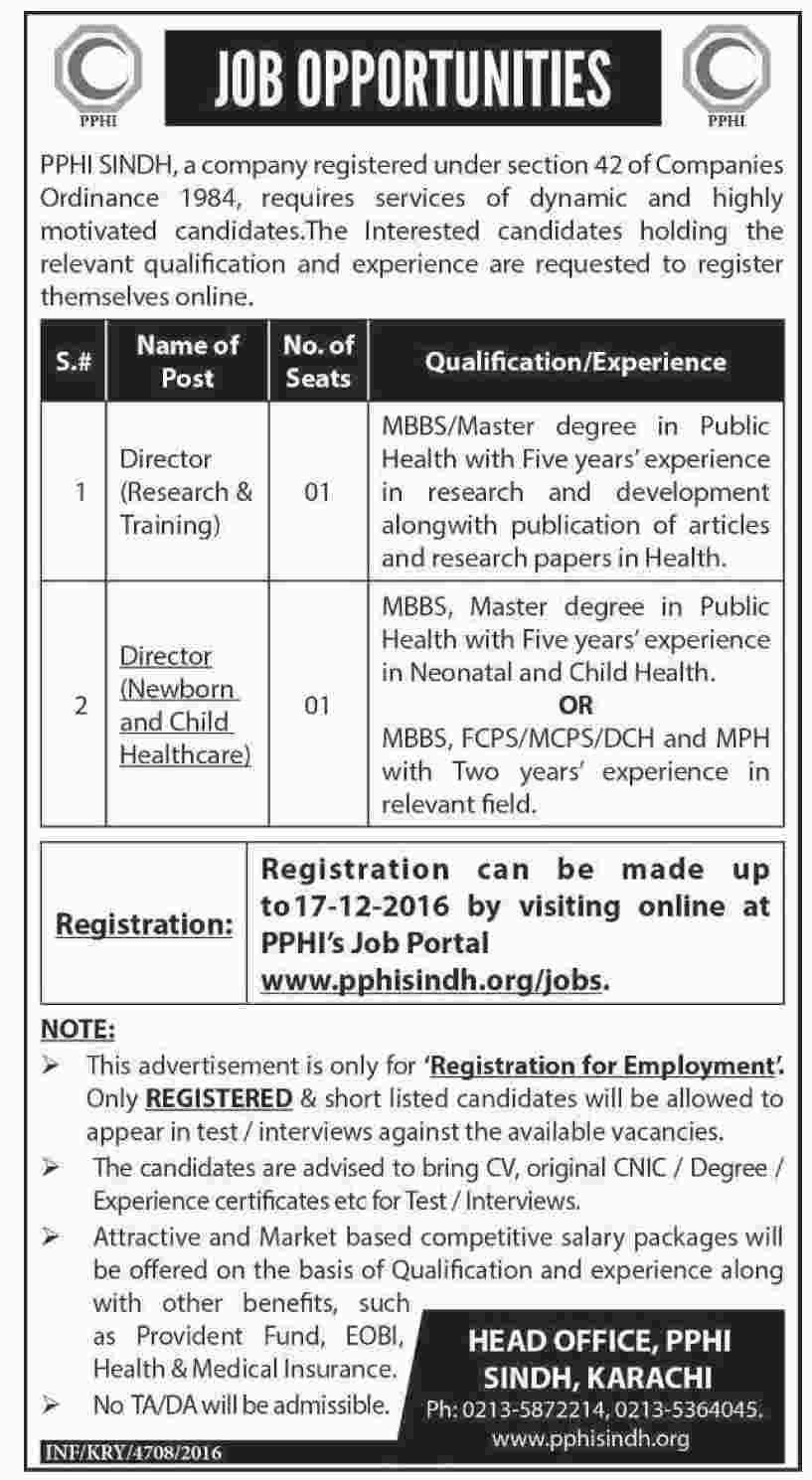 pphi sindh jobs available for vacancies apply online by pphi sindh jobs are available for 2 vacancies of directors required qualification from a recognized institution relevant work experience and age limit