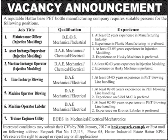 Jobs in Eco Pack Bottle Manufacturing Company Available for 7+ DAE ...