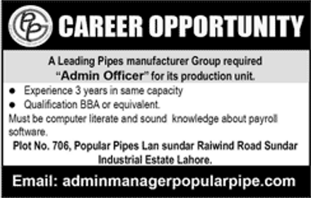 Jobs in Popular Pipes Manufacturing Group Available for the
