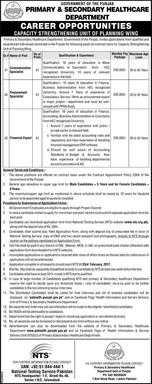 Health Department Punjab Government Jobs 2017 Available For 9 Admin