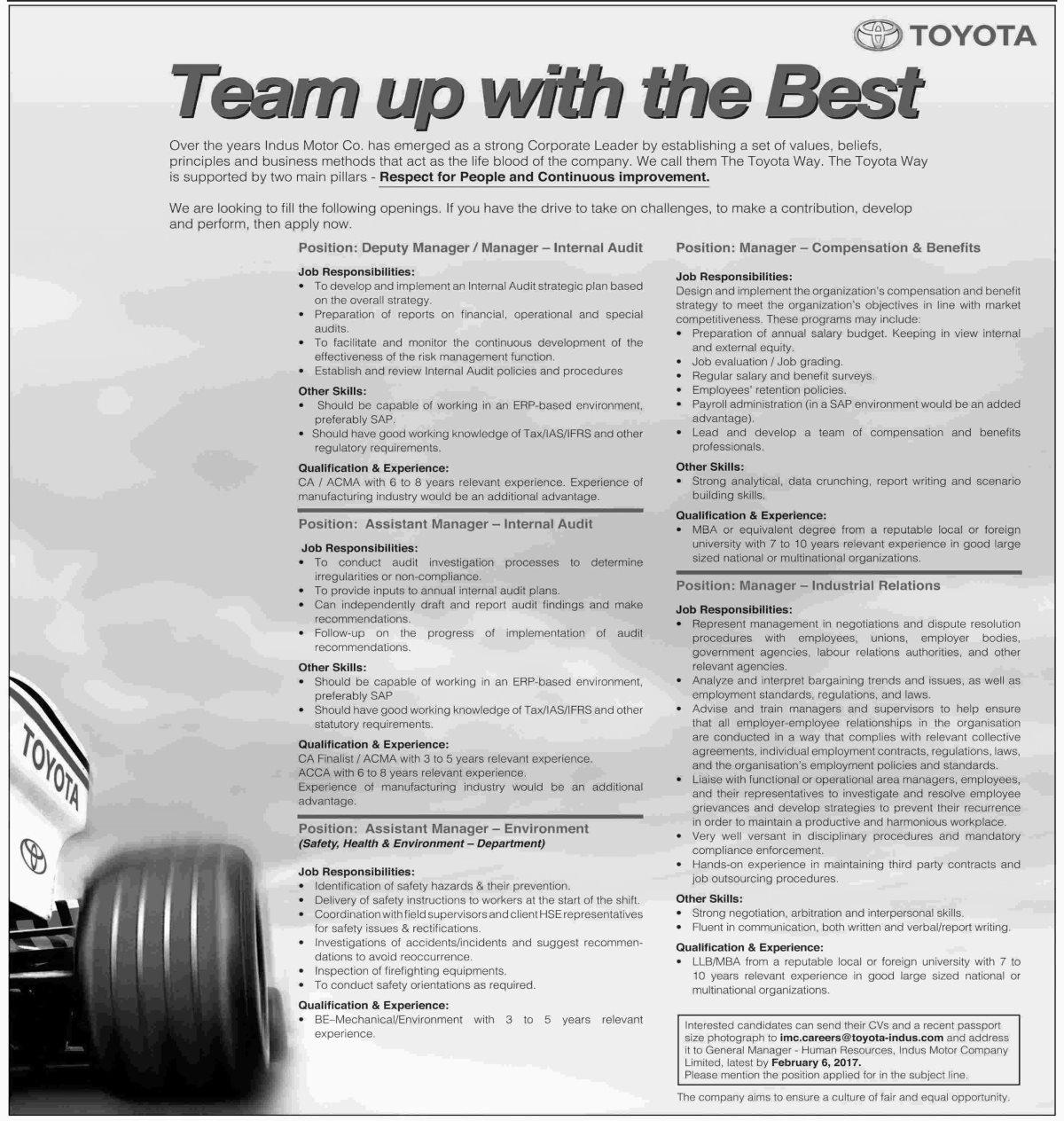 Toyota Pakistan Jobs Available For Admin Finance - Audi car job vacancy