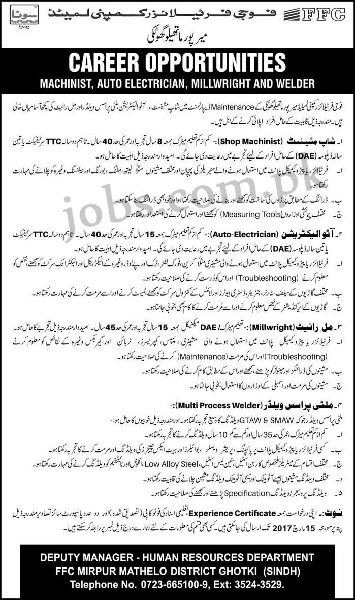 Fauji Fertilizer Company Ltd FFC Jobs 2017 Available for 4+