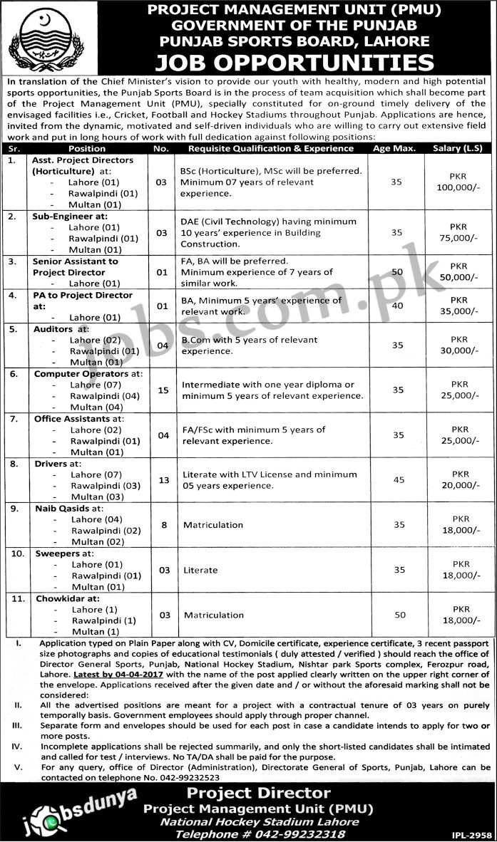 punjab sports board jobs 2017 58 vacancies apply by 4th punjab sports board jobs 2017 available for 58 vacancies to be filled immediately required qualification from a recognized institution and relevant work