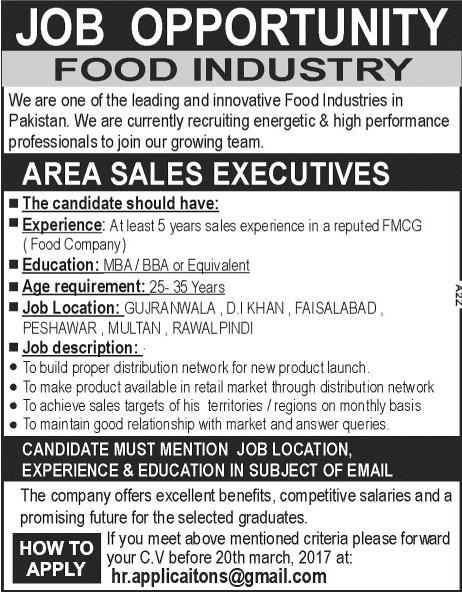 jobs in food industry company available for sales staff