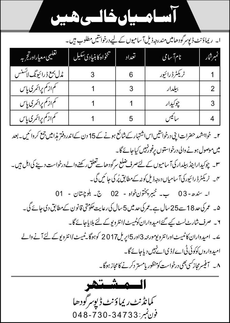 pak army civilian jobs posts in multiple organizations qualifications age limit please see job notification below for relevant experience qualification age limit information