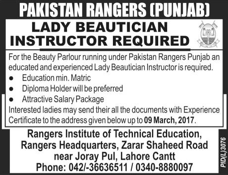 pakistan rangers punjab jobs 2017 available for lady beautician instructor beautician jobs