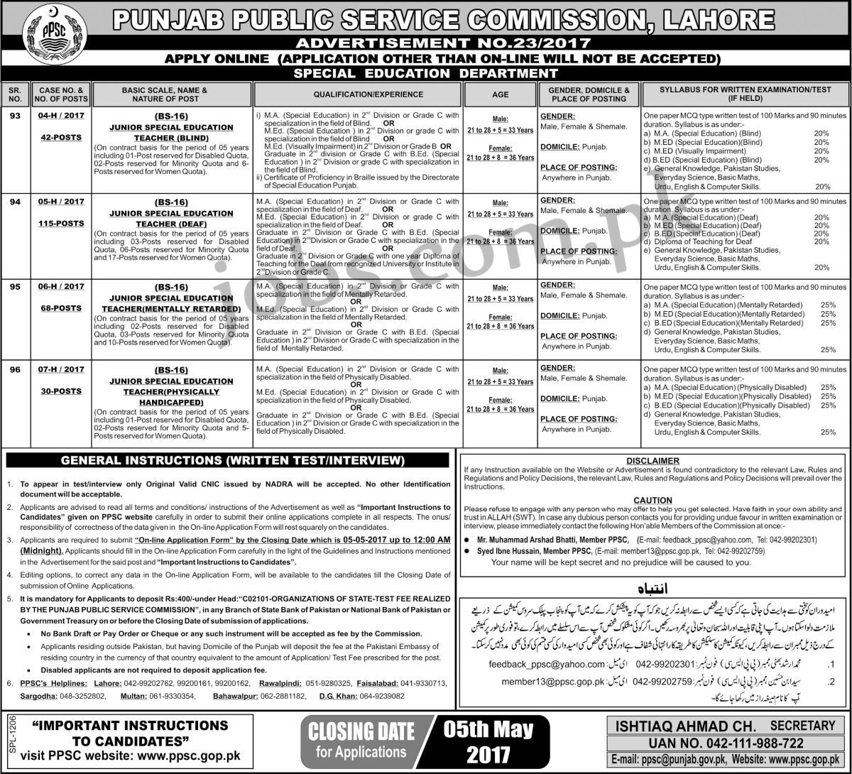 PPSC Jobs 2017: 255+ Special Teachers Vacancies Available at Special ...