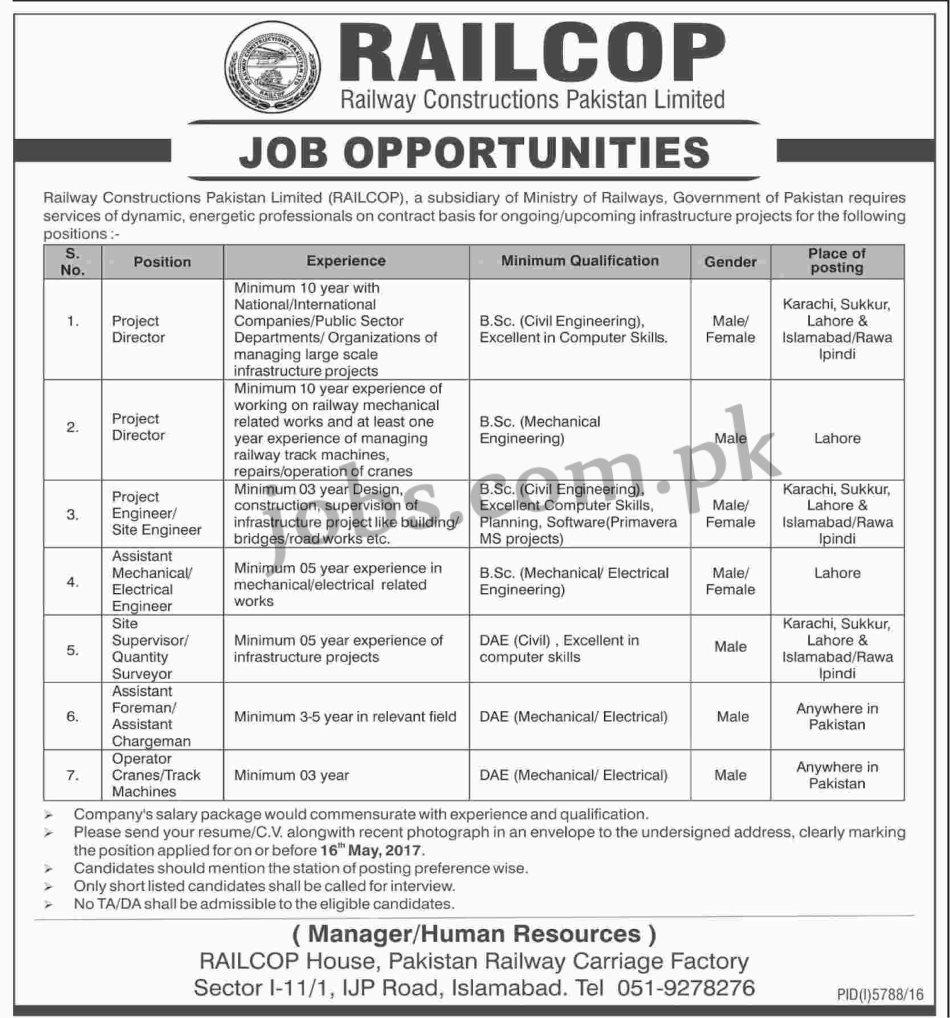 Pakistan Railways Jobs 2017 15 Positions at Railways