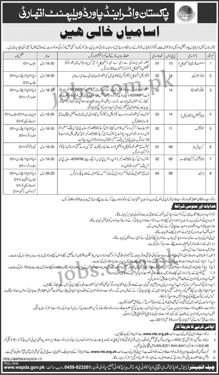 17 Jobs For 17 Year Olds That Will Pay For College: WAPDA Jobs 2017 (17+ Vacancies) In Multiple Power Stations