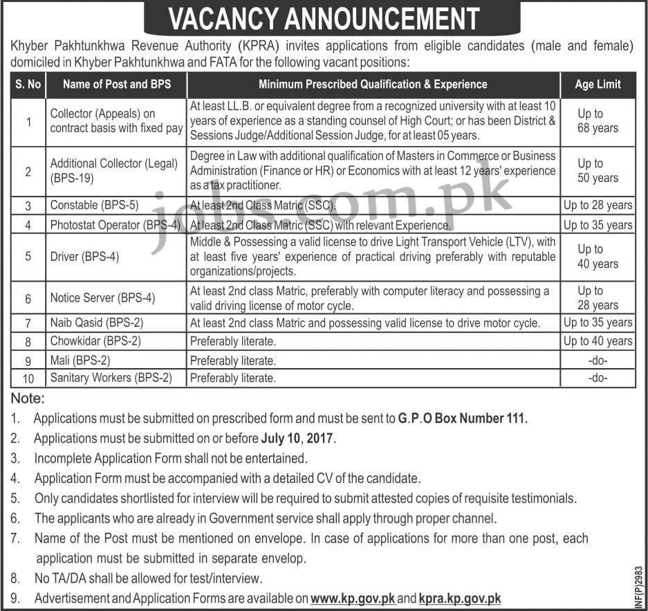 khyber pakhtunkhwa revenue authority  kpra  jobs 2017  10  posts