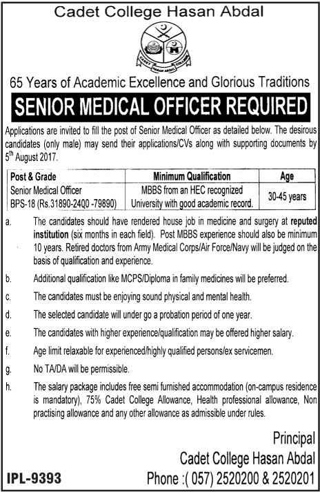 Cadet College Hasan Abdal Jobs 2017 Available For Medical Officer Staff