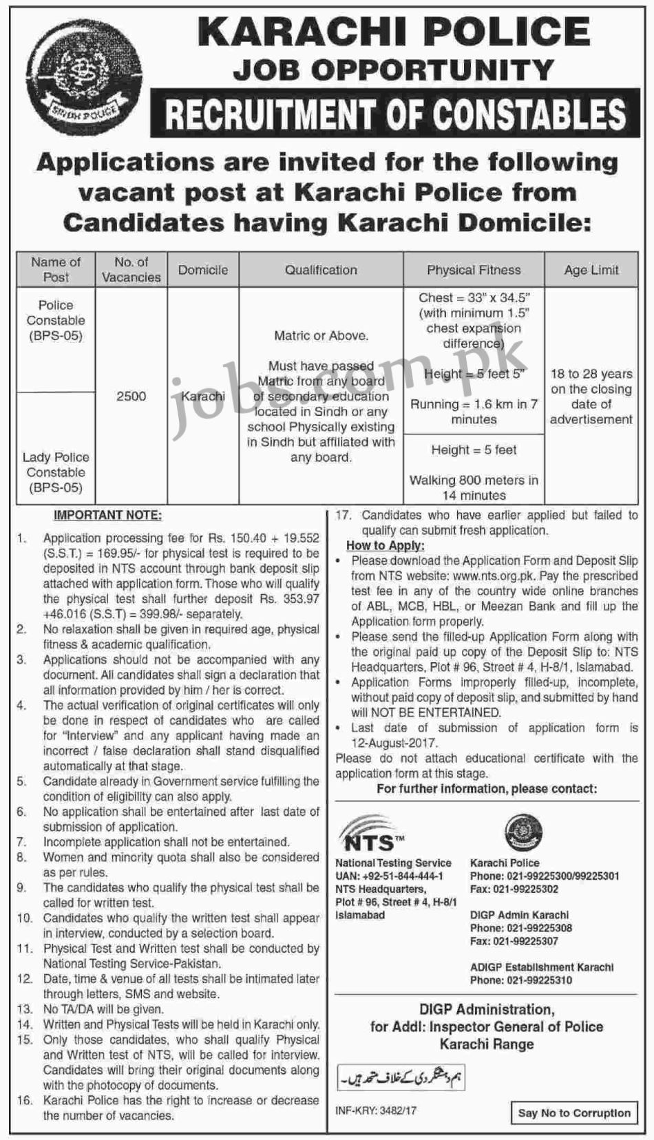 Karachi Police Jobs 2017 For 2500 Police Constables And Lady Police