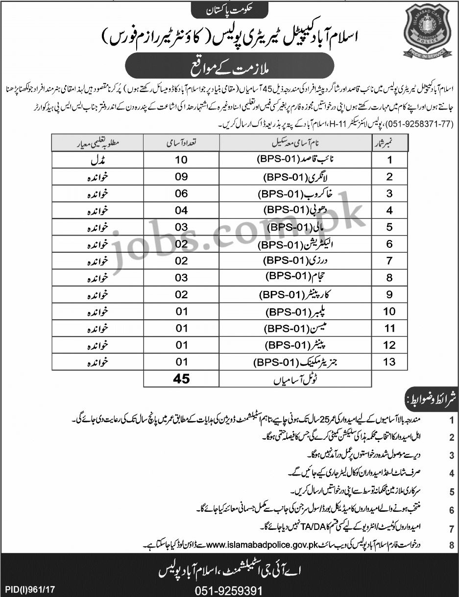 islamabad capital territory police  ict  jobs 2017 for 45  skilled  technical  u0026 support staff on