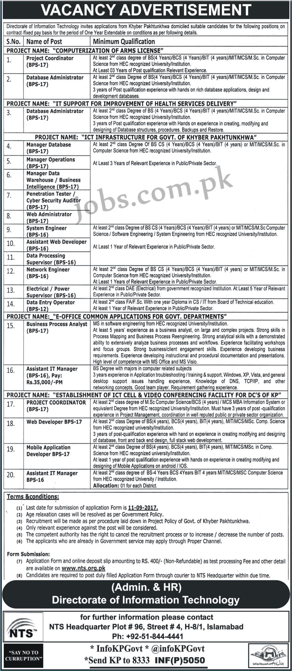 Directorate of it kp government jobs 2017 for 20 it and dae directorate of it kp government jobs 2017 apply online falaconquin